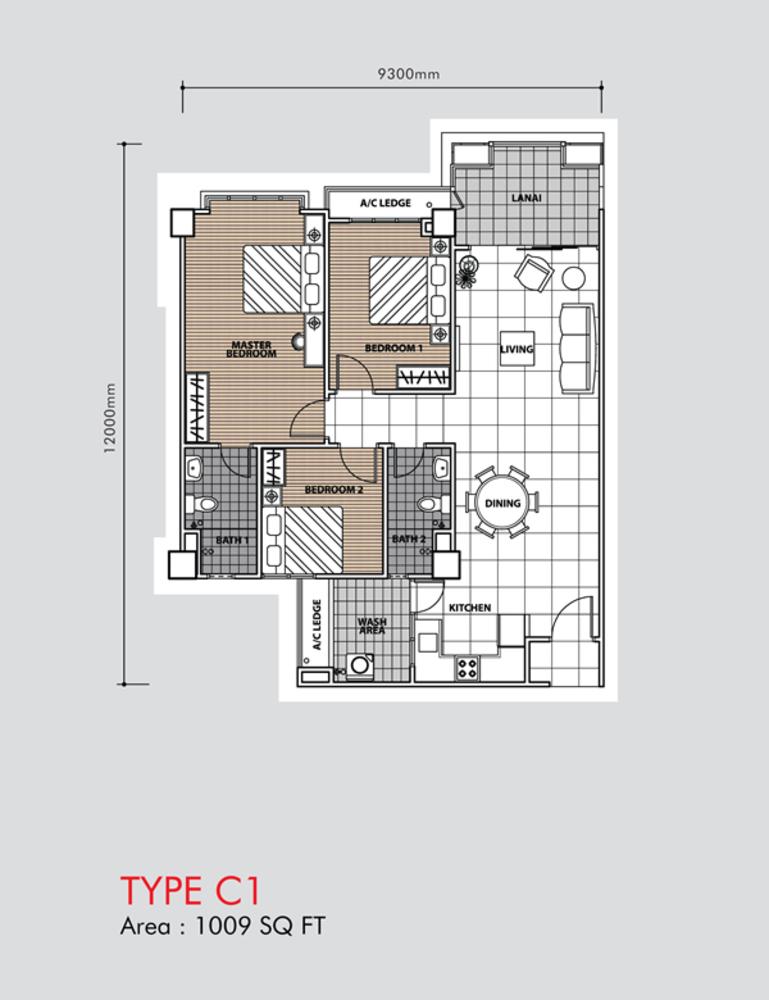 Putra 1 Apartment Type C1 (Block 3, 5 & 6) Floor Plan