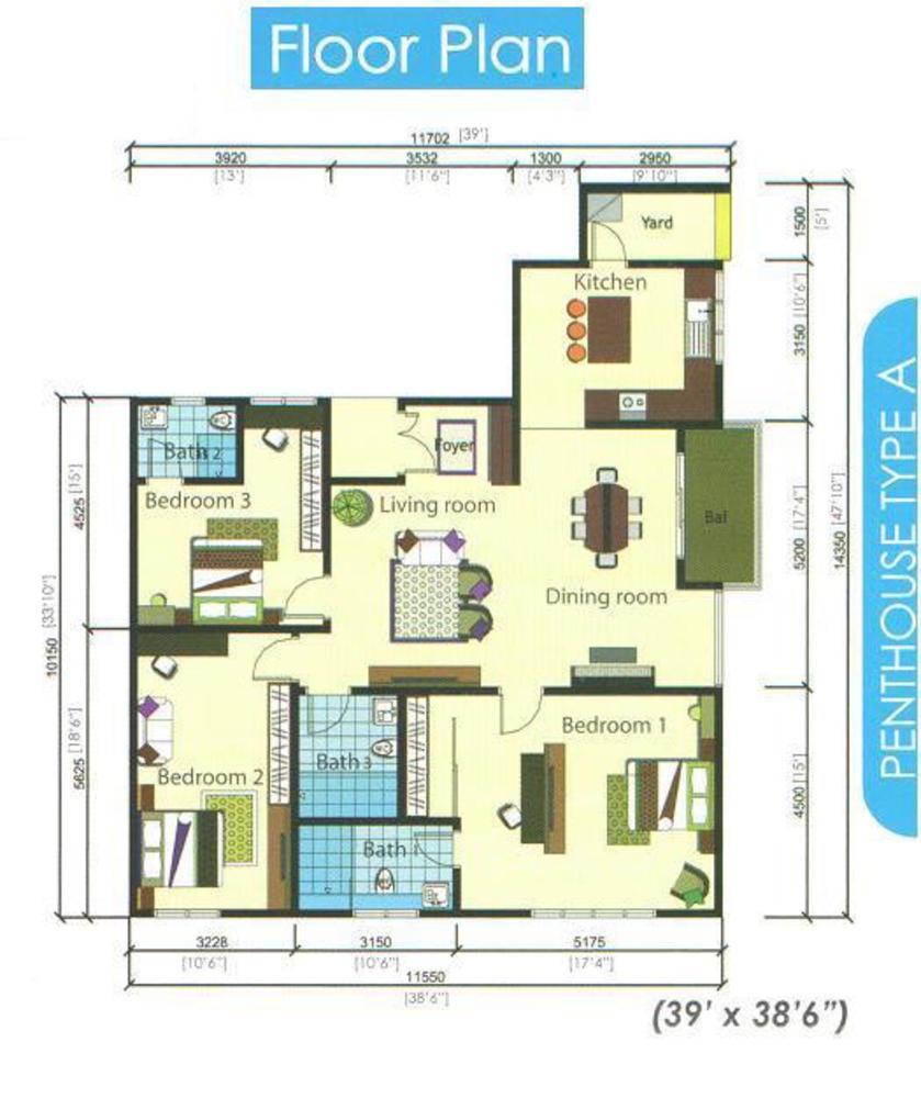 Casamas Condo Penthouse Type A Floor Plan
