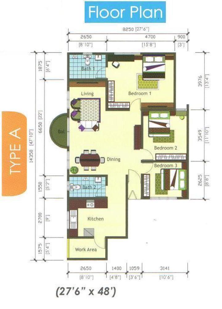 Casamas Condo Type A Floor Plan