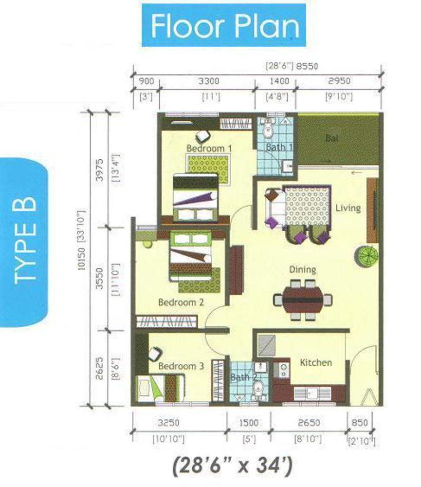 Casamas Condo Type B Floor Plan