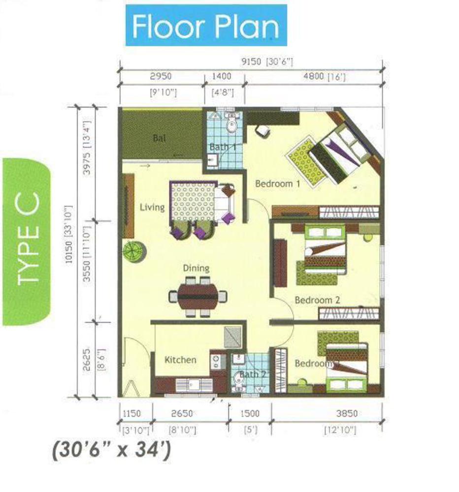 Casamas Condo Type C Floor Plan