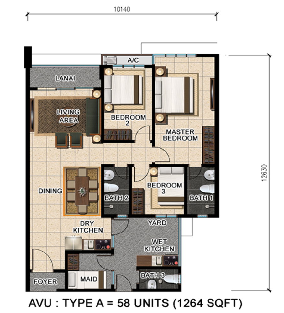 D'Suria Condominium Type A Floor Plan