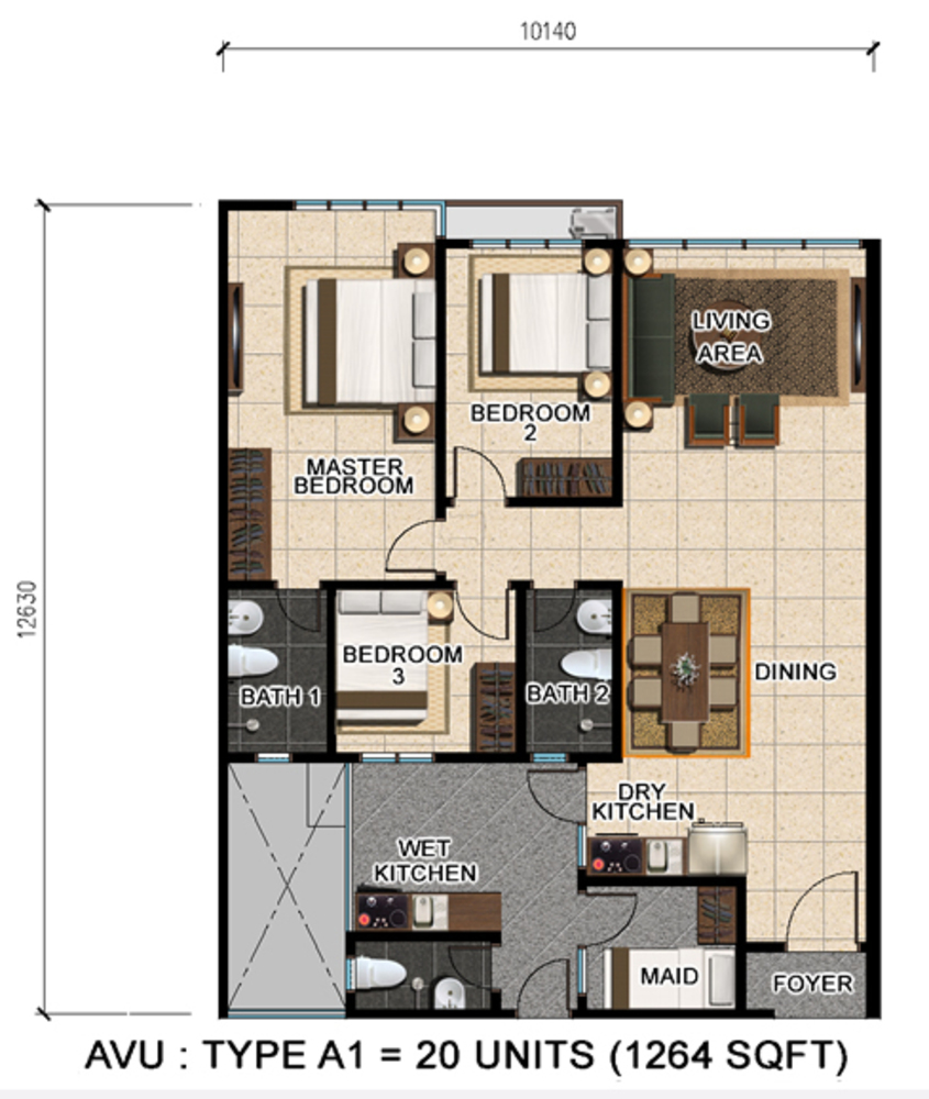 D'Suria Condominium Type A1 Floor Plan