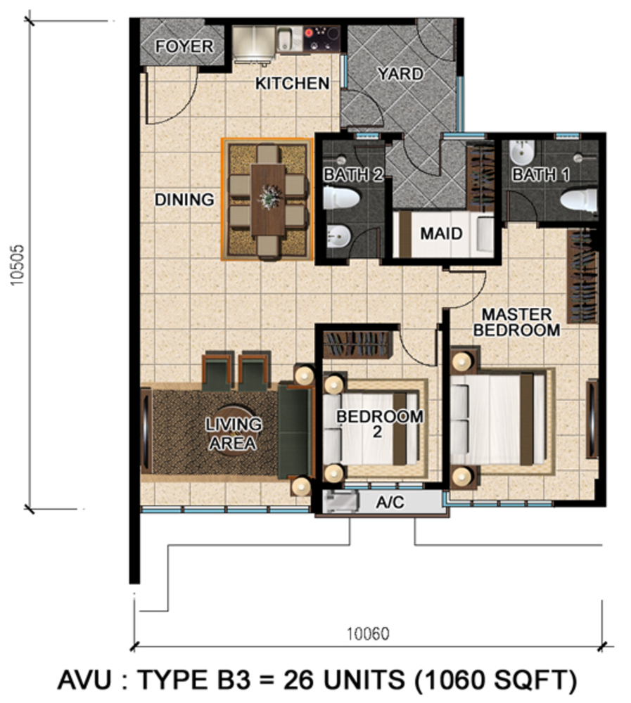 D'Suria Condominium Type B3 Floor Plan