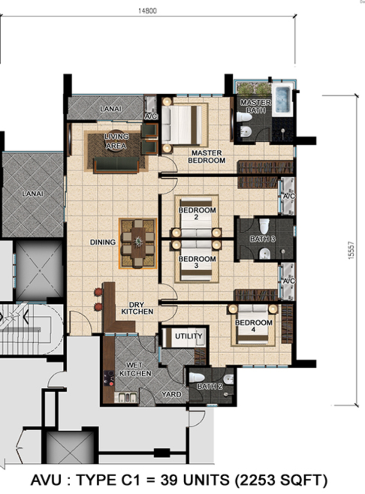 D'Suria Condominium Type C1 Floor Plan