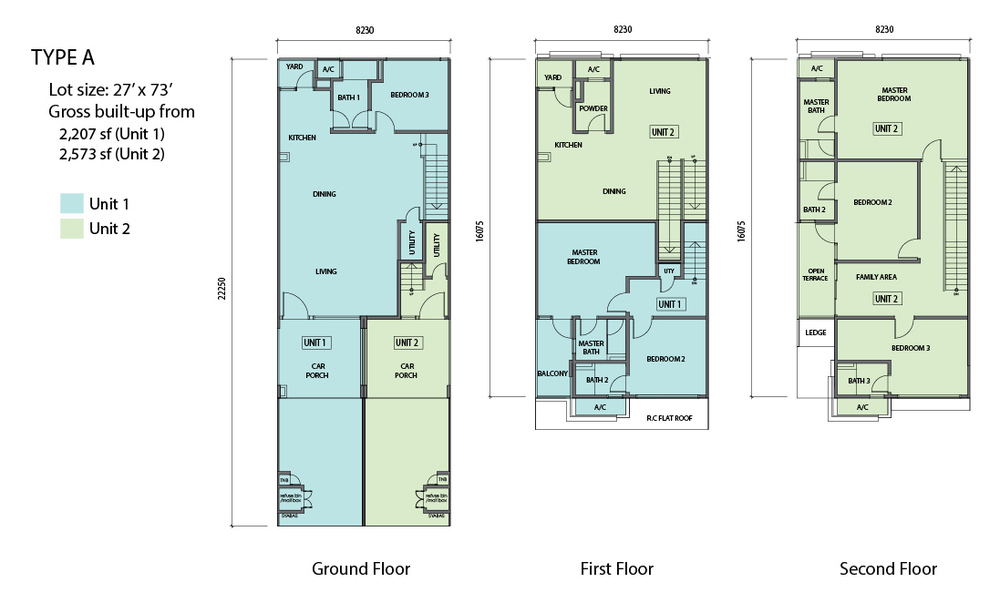 N'Dira Townhouse Type A (Unit 1 - Blue) Floor Plan