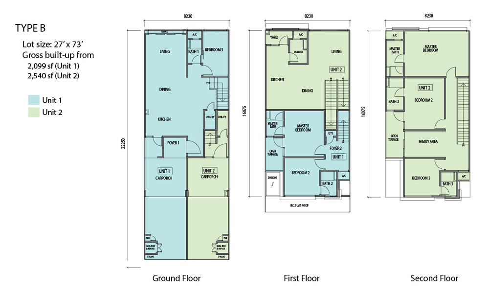 N'Dira Townhouse Type B (Unit 2 - Green) Floor Plan