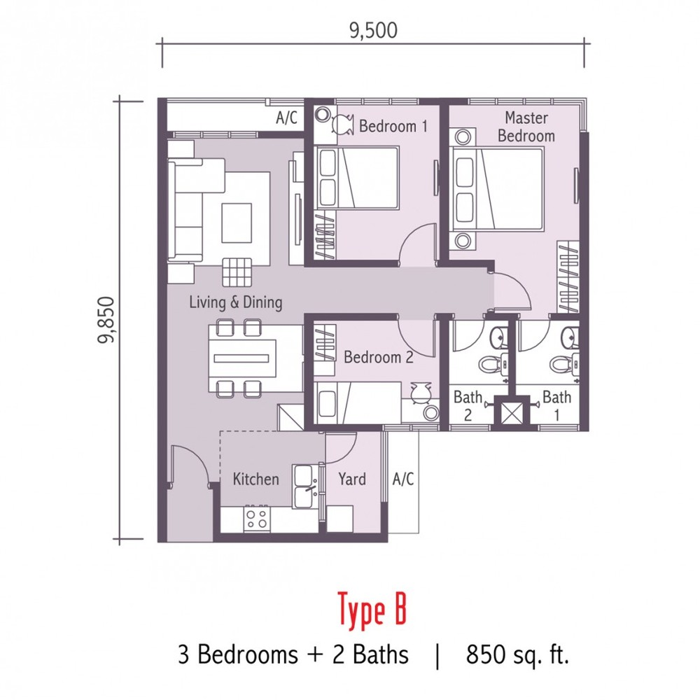 Arc @ Austin Hills Type B Floor Plan