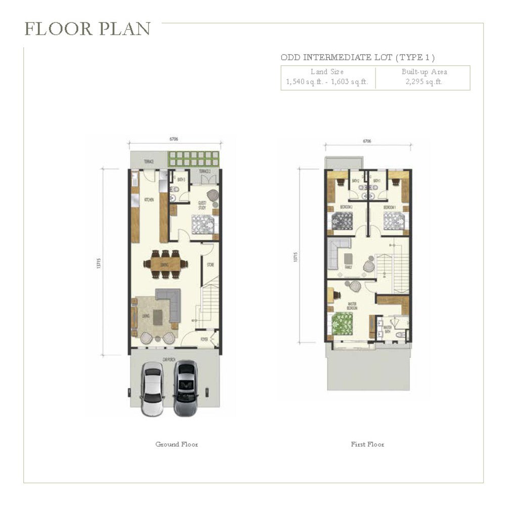 Irama Type 1 (Odd Intermediate Lot) Floor Plan