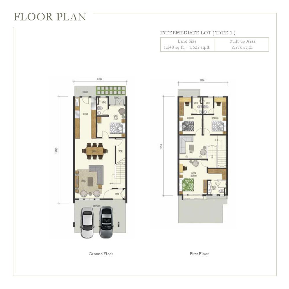 Irama Type 1 (Intermediate Lot) Floor Plan