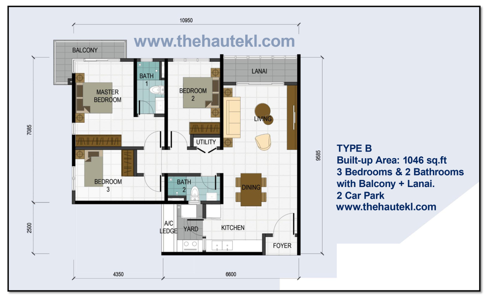 The Haute Type B/B1 Floor Plan