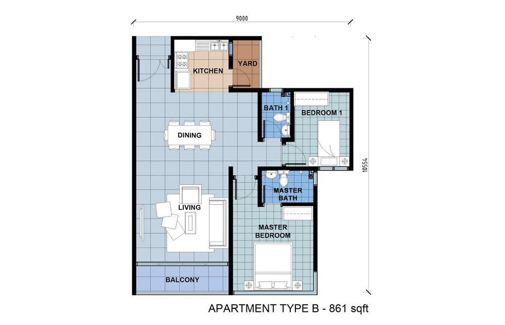 D'Lagoon Type B Floor Plan