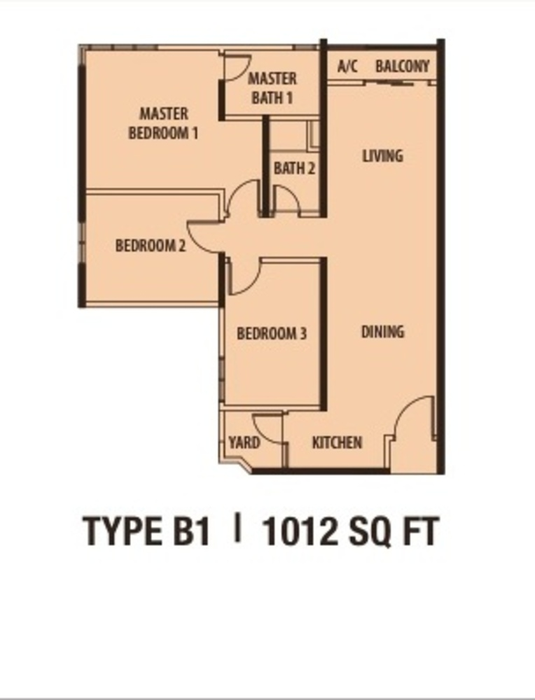 Danau Kota Suite Apartments Type B1 Floor Plan