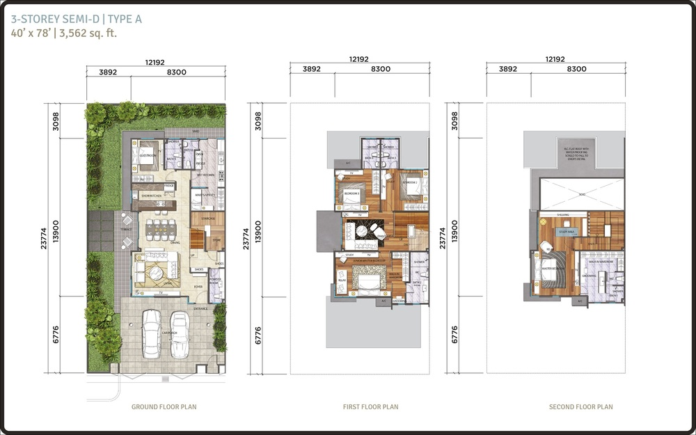 Lambaian Residence Semi-D Type A Floor Plan