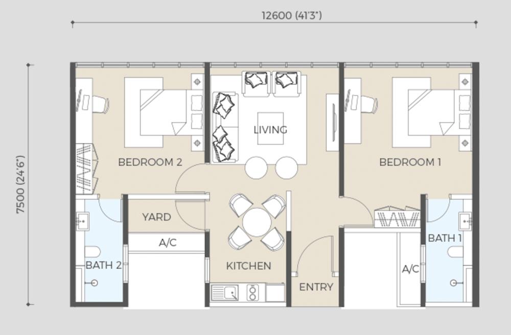 Oasis Rio Type B1 Floor Plan