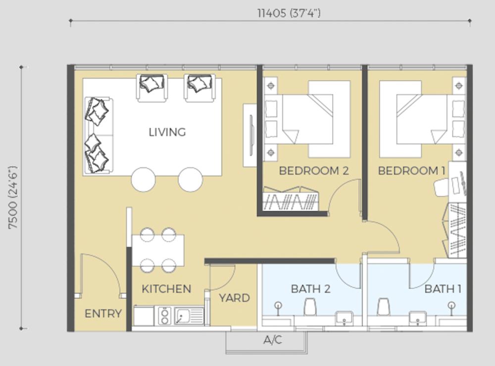 Oasis Rio Type B3 Floor Plan
