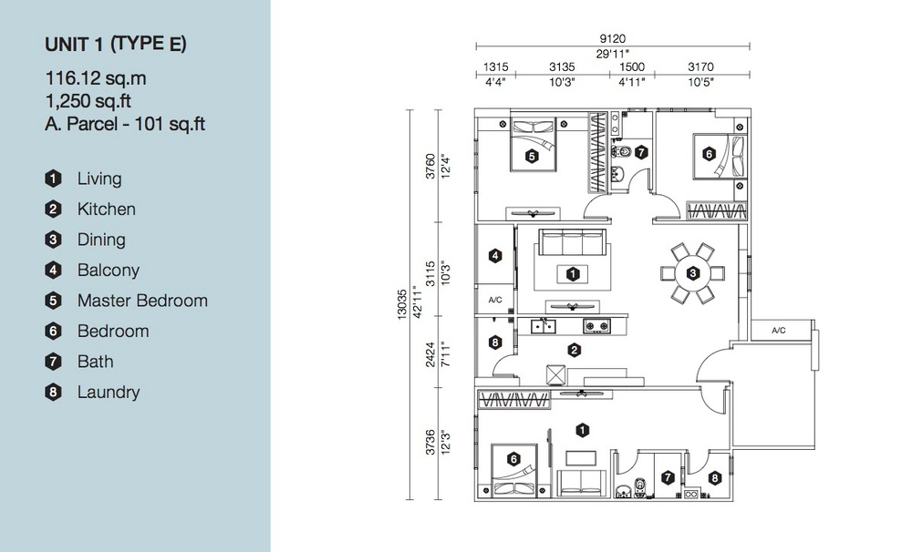Artis 3 Block B - Type E Floor Plan