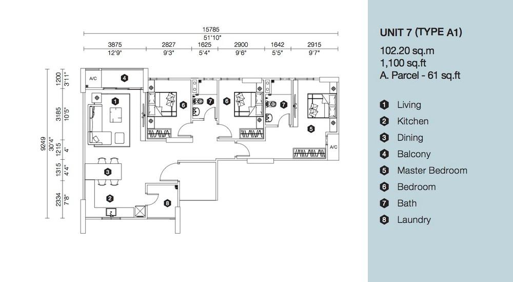 Artis 3 Block B - Type A1 Floor Plan