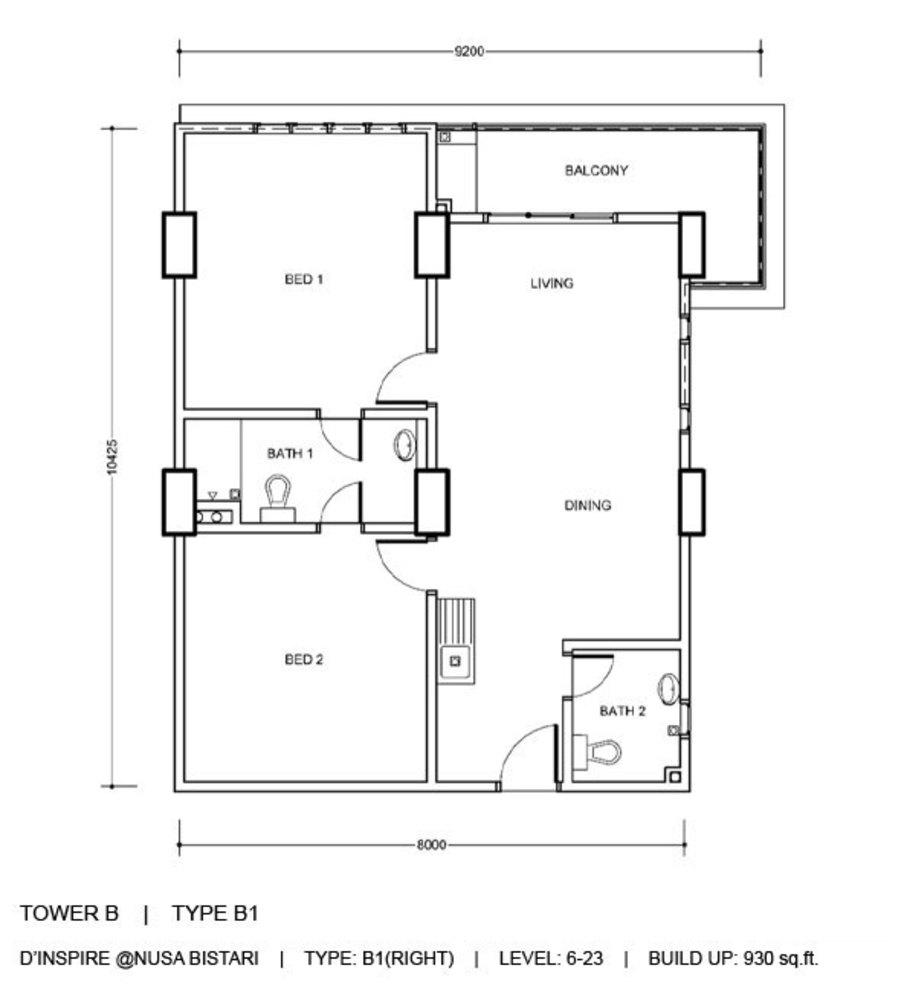 D'Inspire Residence Tower B - Type B1 Floor Plan
