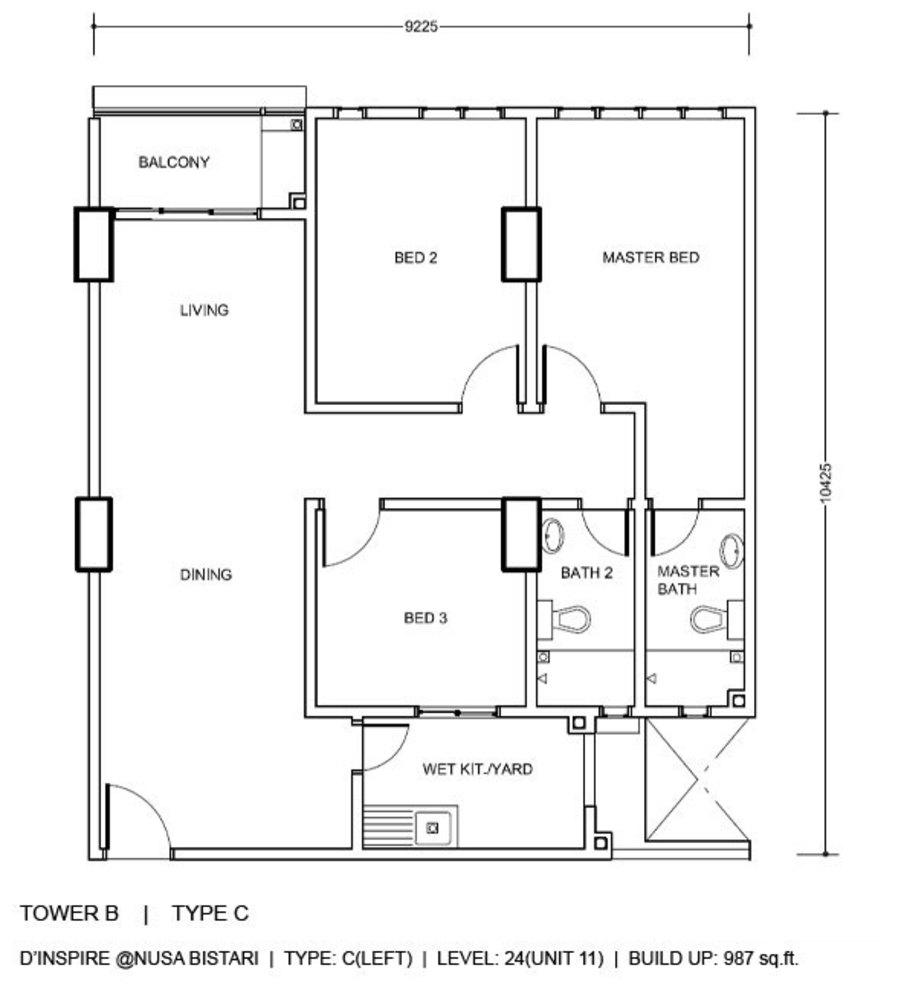 D'Inspire Residence Tower B - Type C Floor Plan