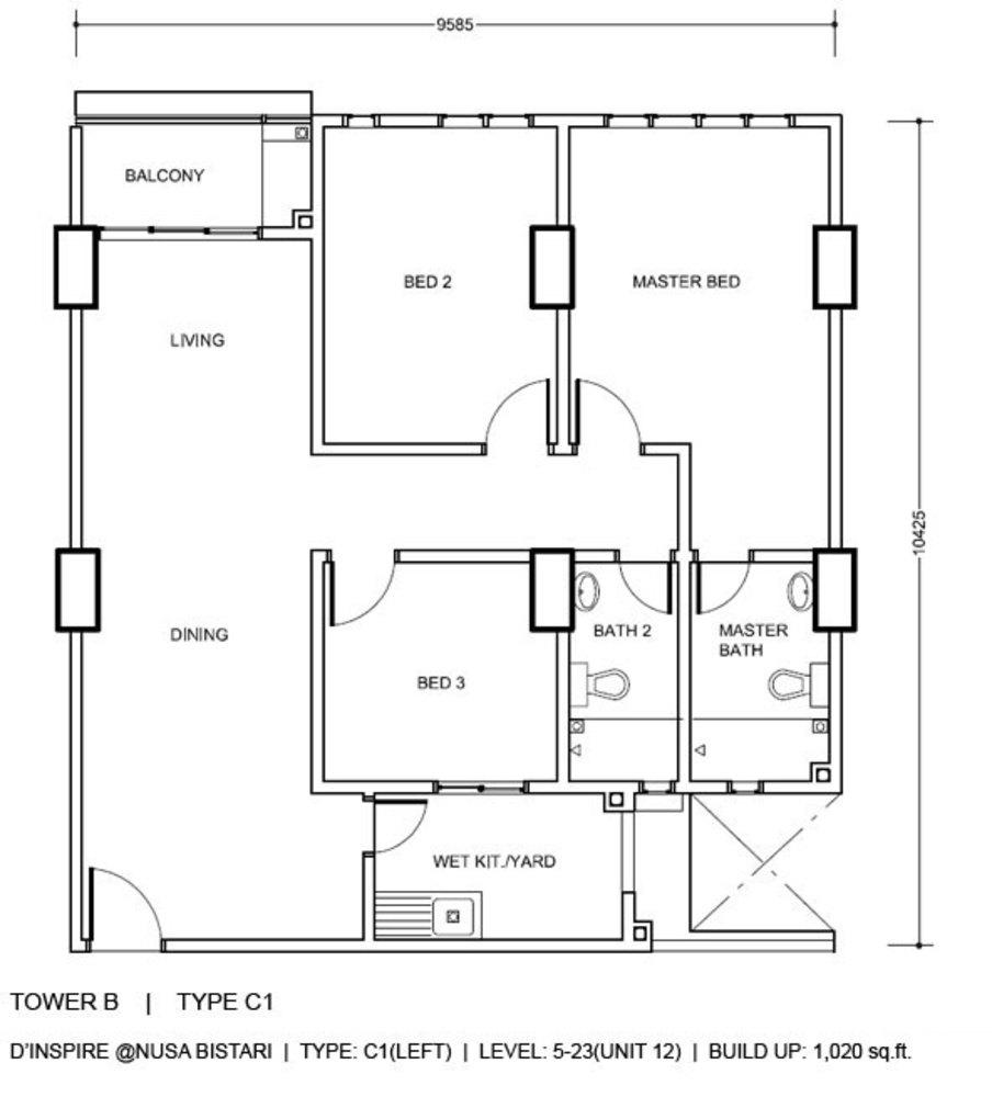 D'Inspire Residence Tower B - Type C1 Floor Plan