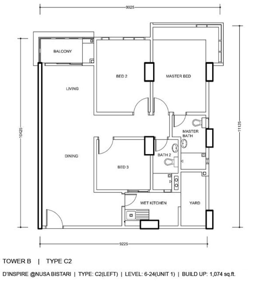 D'Inspire Residence Tower B - Type C2 Floor Plan