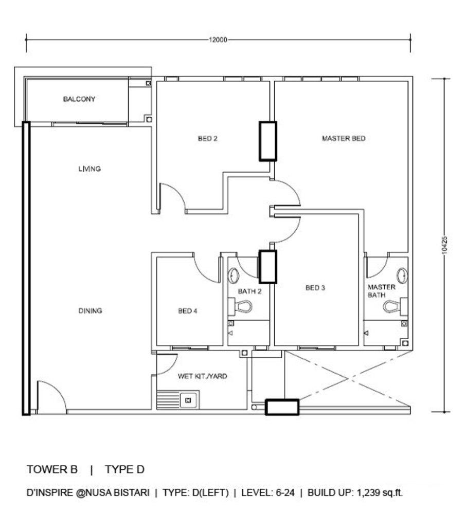 D'Inspire Residence Tower B - Type D Floor Plan