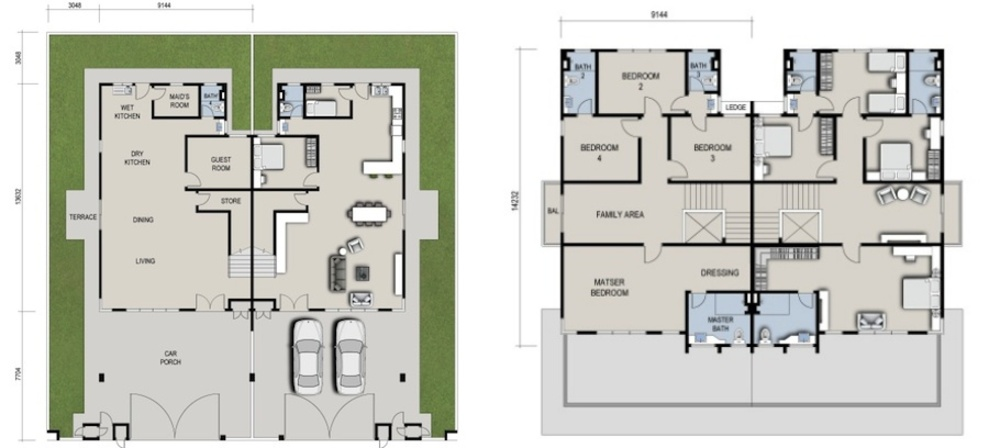 GreensVille 2 Storey Semi-D Floor Plan
