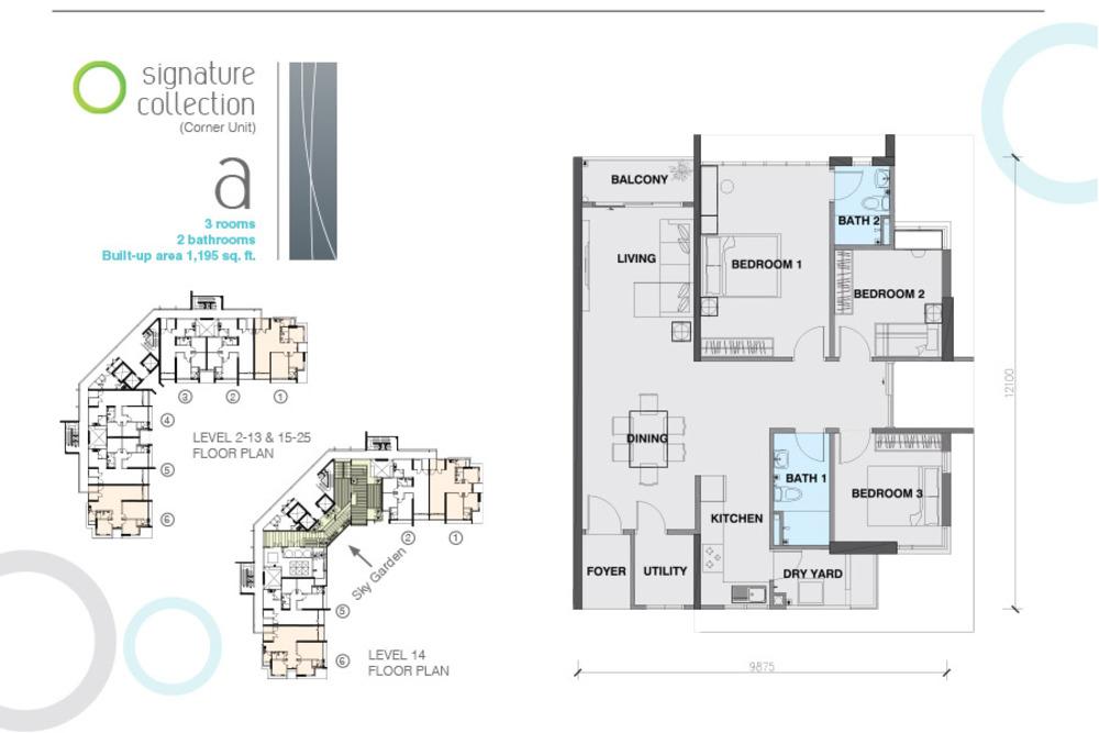 The Signature Type A Corner Unit Floor Plan