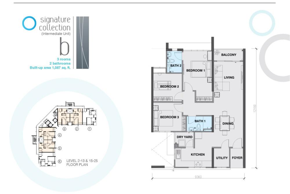The Signature Type B Intermediate Unit Floor Plan
