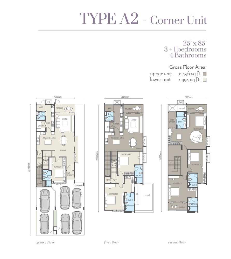 Ridgefield Residences @ Tropicana Heights Type A2 (Lower) Floor Plan