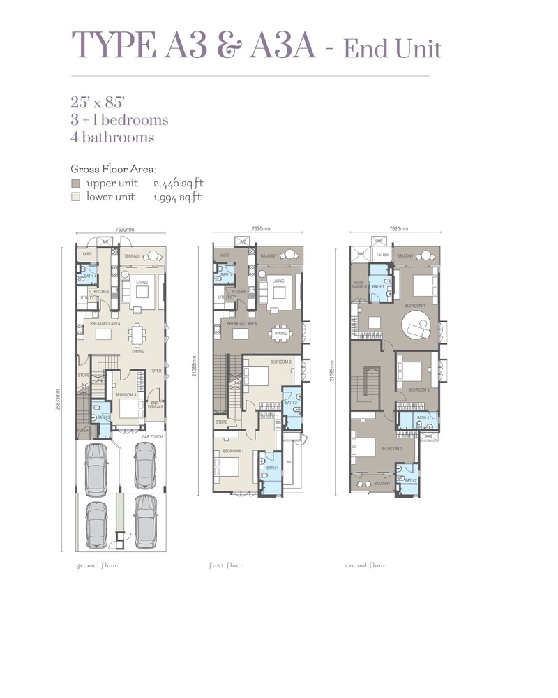 Ridgefield Residences @ Tropicana Heights Type A3 & A3A (Lower) Floor Plan