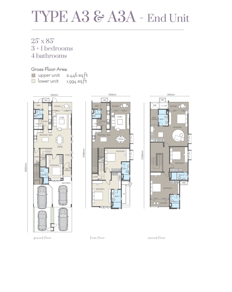 Ridgefield Residences @ Tropicana Heights Type A3 & A3A (Upper) Floor Plan