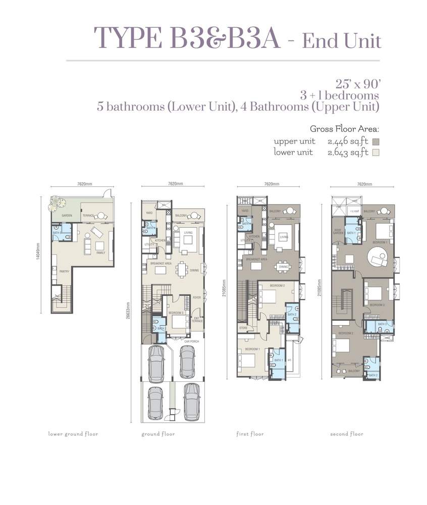 Ridgefield Residences @ Tropicana Heights Type B3 & B3A (Lower) Floor Plan
