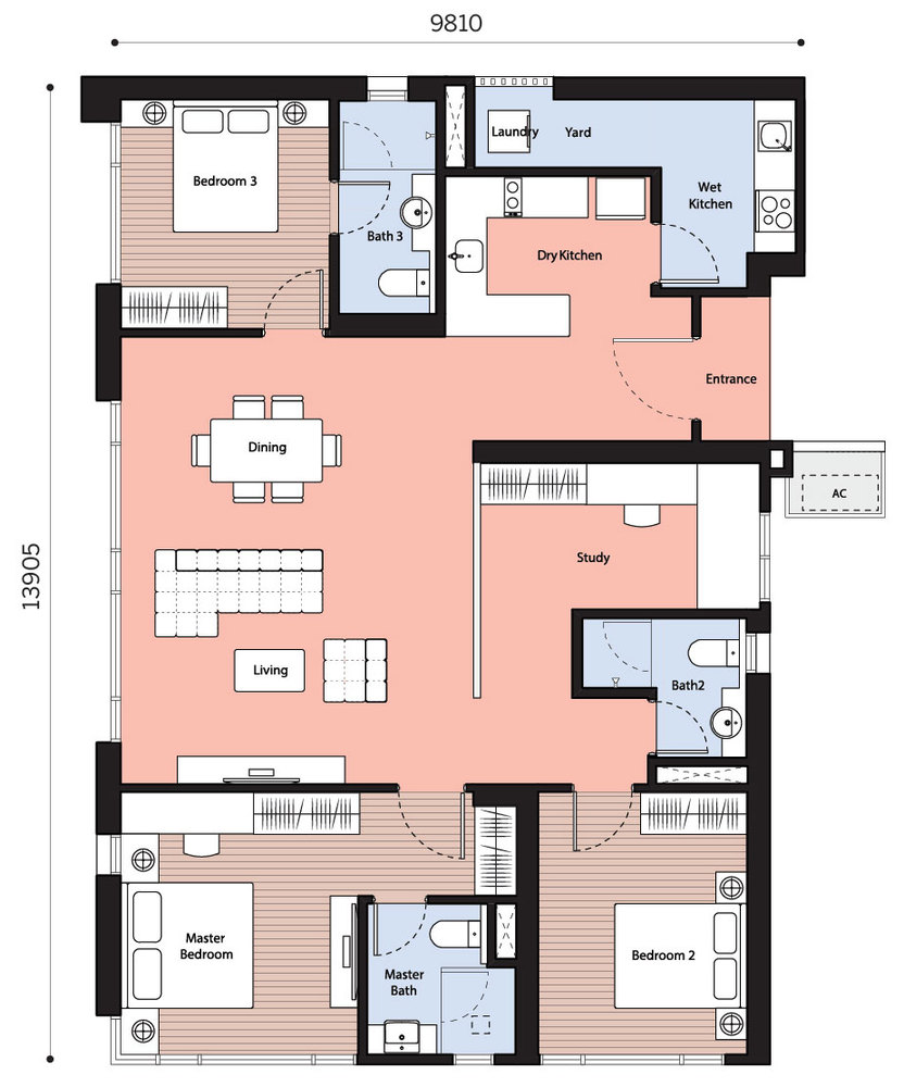 Dianthus Serviced Residences @ Tropicana Gardens Type D Floor Plan