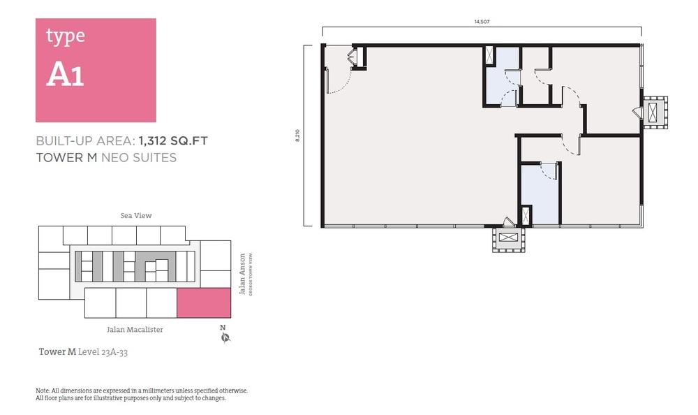 Tropicana 218 Macalister Neo Suites - Type A1 Floor Plan