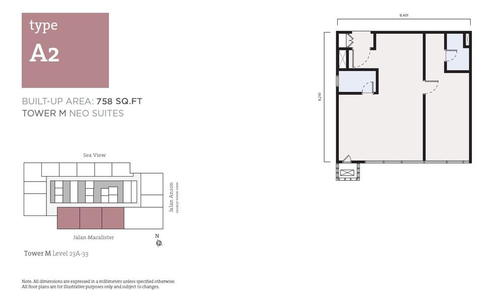 Tropicana 218 Macalister Neo Suites - Type A2 Floor Plan