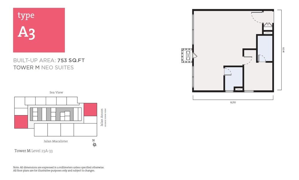 Tropicana 218 Macalister Neo Suites - Type A3 Floor Plan