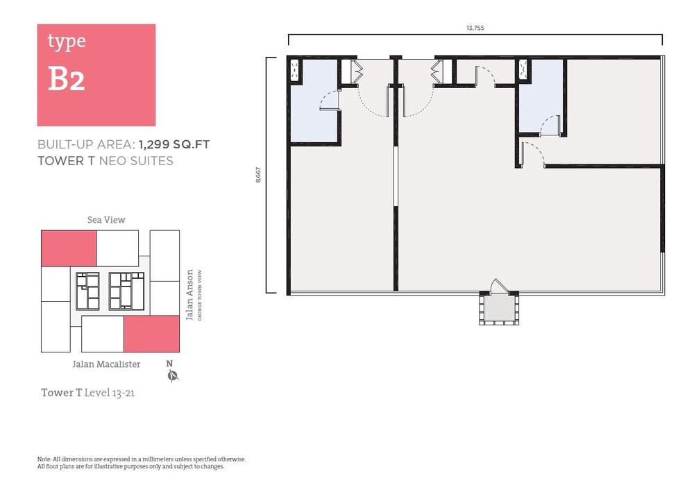 Tropicana 218 Macalister Neo Suites - Type B2 Floor Plan