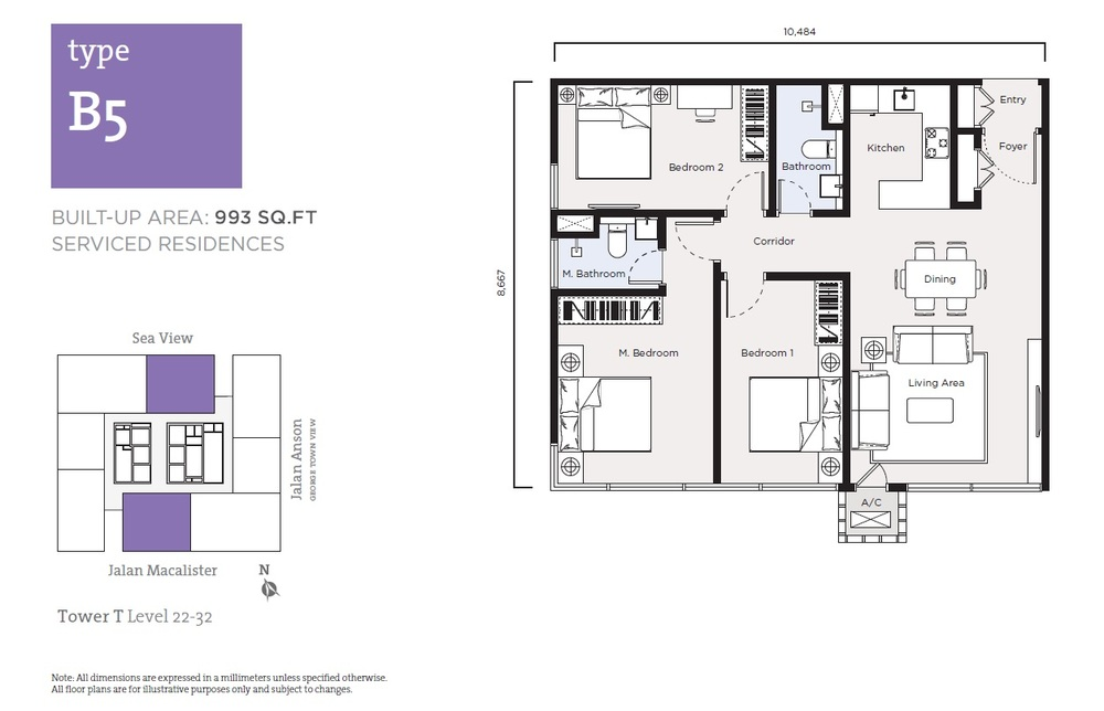 Tropicana 218 Macalister Serviced Residence - Type B5 Floor Plan