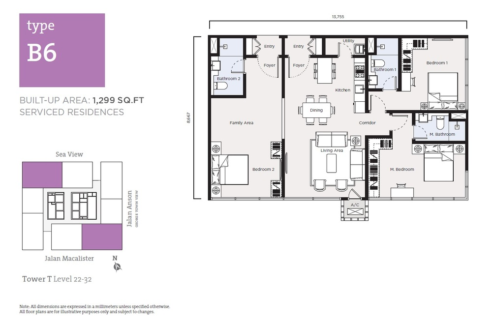 Tropicana 218 Macalister Serviced Residence - Type B6 Floor Plan