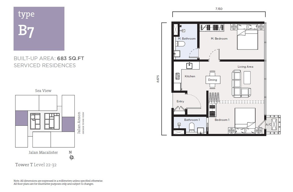 Tropicana 218 Macalister Serviced Residence - Type B7 Floor Plan