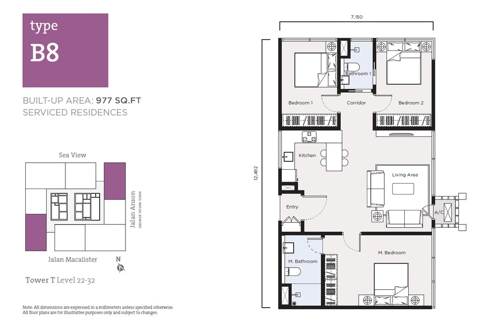 Tropicana 218 Macalister Serviced Residence - Type B8 Floor Plan