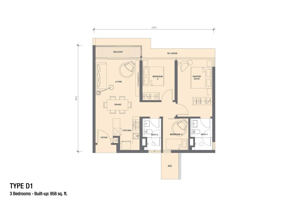 Grand Medini Type D1 Floor Plan