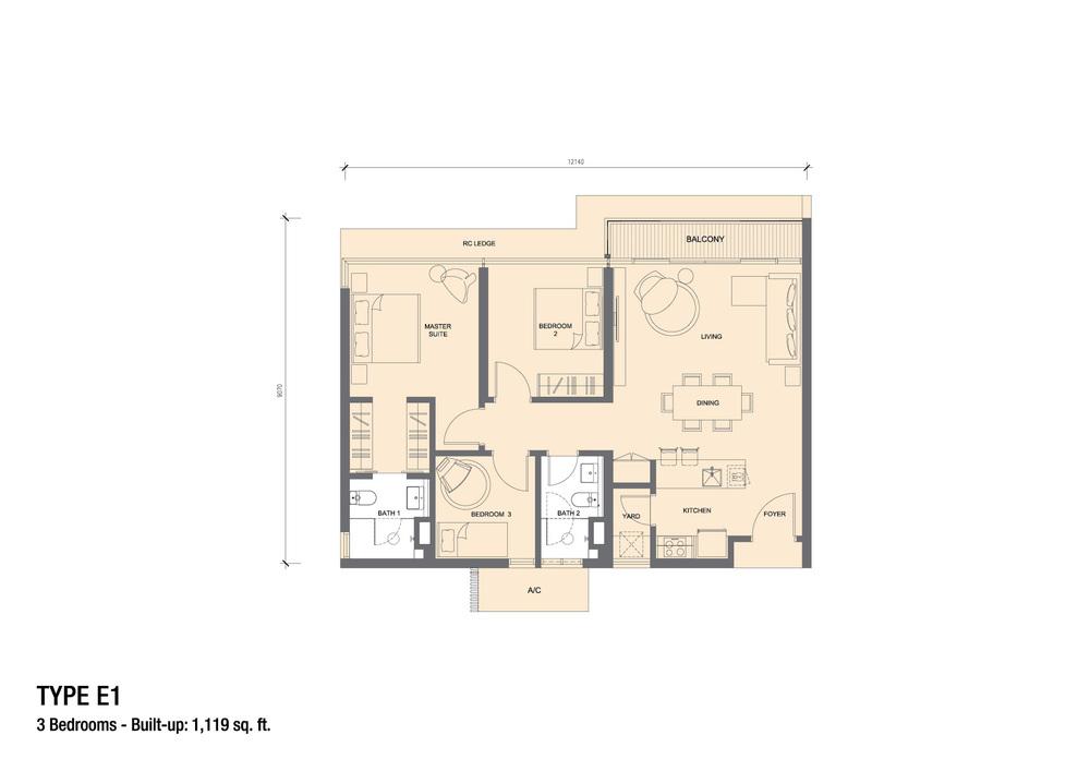 Grand Medini Type E1 Floor Plan