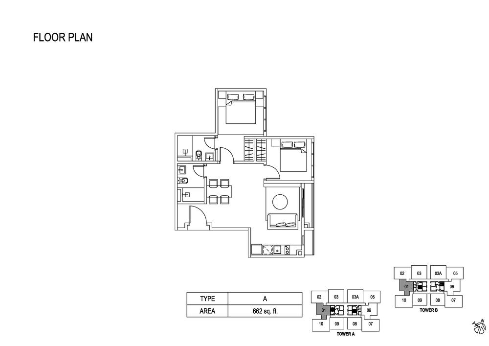 Fera Residence @ The Quartz Type A Floor Plan