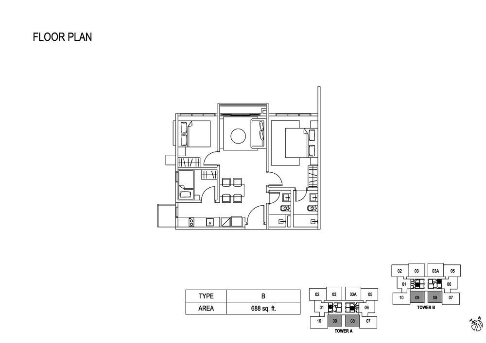 Fera Residence @ The Quartz Type B Floor Plan