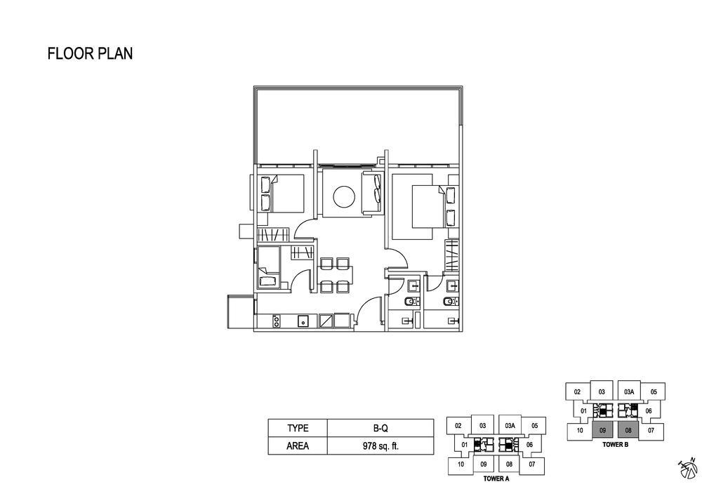 Fera Residence @ The Quartz Type B-Q Floor Plan