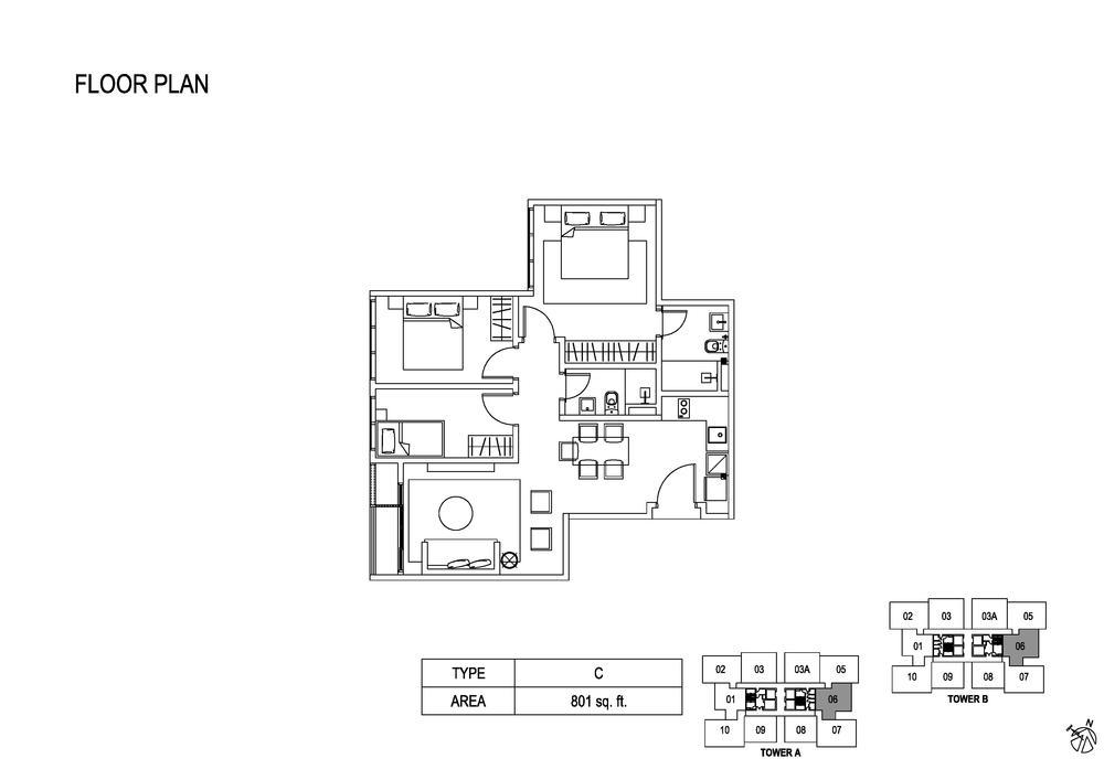 Fera Residence @ The Quartz Type C Floor Plan