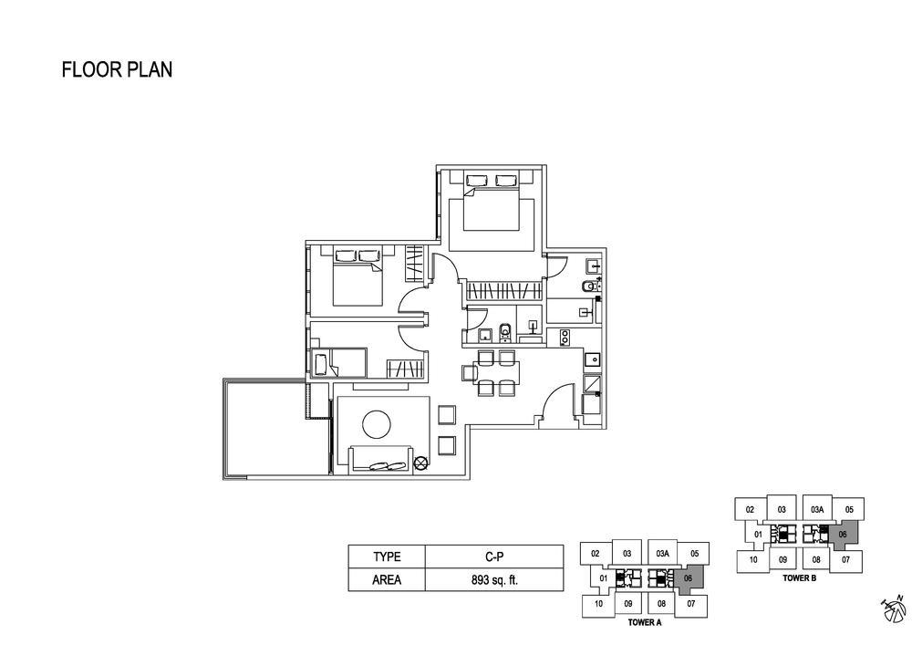 Fera Residence @ The Quartz Type C-P Floor Plan